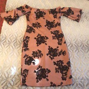 Off the shoulder pink and black flower dress